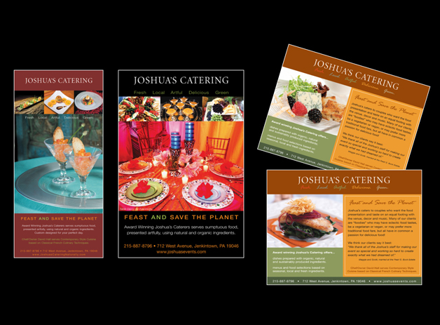 Print Ads for Joshua's Catering, Jenkintown, PA